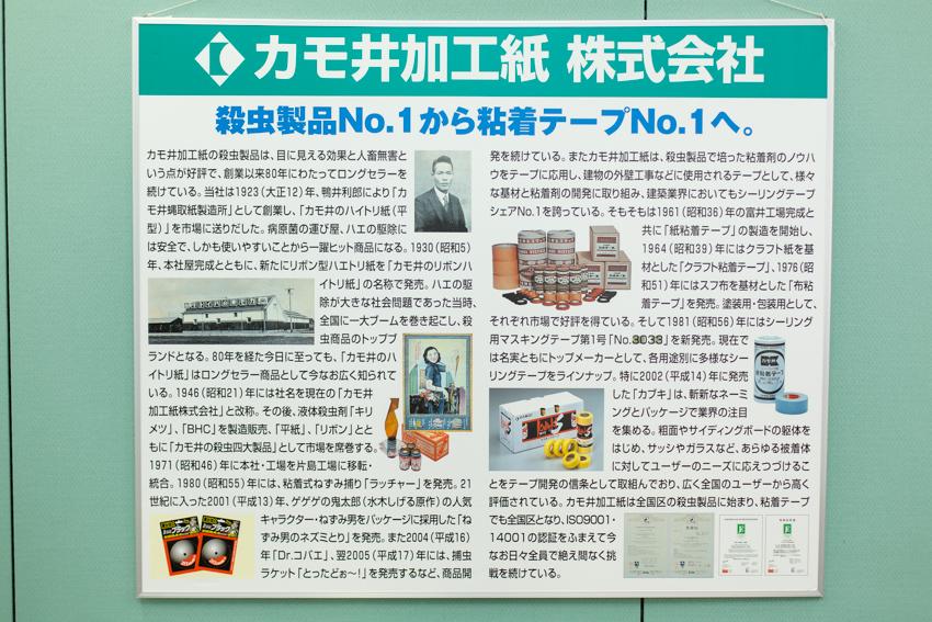 オフィスに掲げられているカモ井加工紙の歴史
