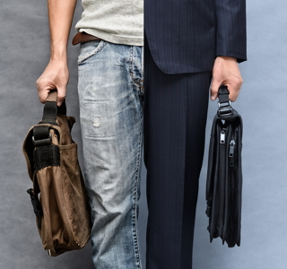 Casual and formal look (closeup upper, lower garment and case)