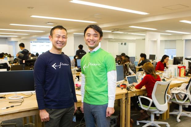 写真左:佐々木大輔さん(freee株式会社代表取締役)、右:岩瀬大輔(ライフネット生命保険 社長)
