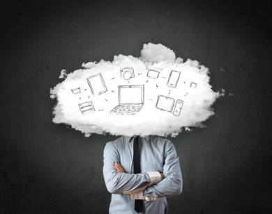 Professional business man with cloud network head