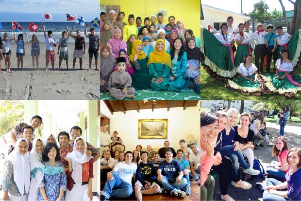 留学生写真:公益財団法人AFS日本協会提供(上段左からアメリカ、マレーシア、コスタリカ、下段左からインドネシア、アルゼンチン、フランス)
