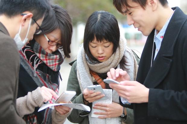 スマートフォンで行うオンライン・位置情報ゲーム「イングレス」で、オンライン・オフライン連動の避難訓練を体感
