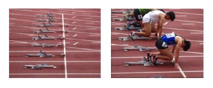 スタートラインに設置されたスタートランプを合図に選手がスタートします